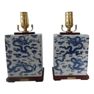 Ralph Lauren Ceramic Blue and White Chinese Dragon Table Lamps - a Pair For Sale