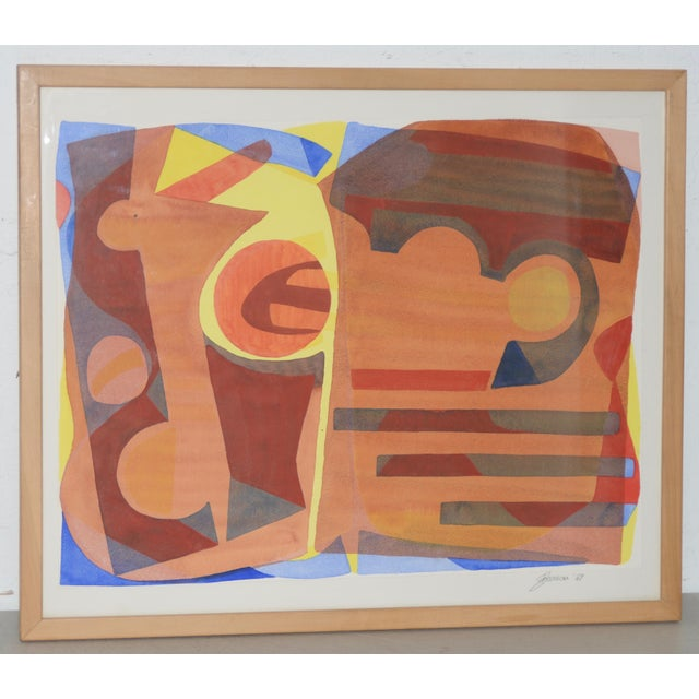 """Katherine Barieau (1917-2010) """"Child's Room"""" Abstract Watercolor C.1967 For Sale - Image 10 of 10"""