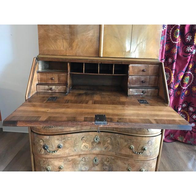 18th Century 1700s Italian Drop Front Walnut Secretary Desk For Sale - Image 5 of 12