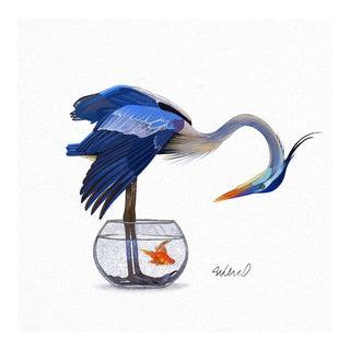Blue Heron Fishing, Giclee Print For Sale