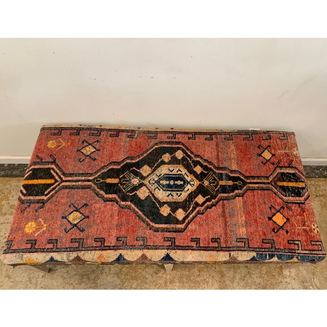 Vintage Persian Rug Ottoman Table For Sale - Image 4 of 11