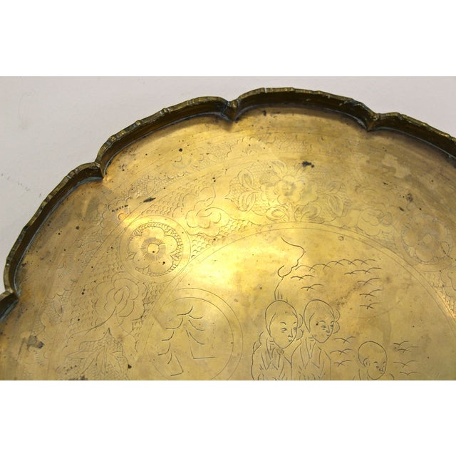 Etched Solid Brass Scalloped Tray - Image 5 of 5