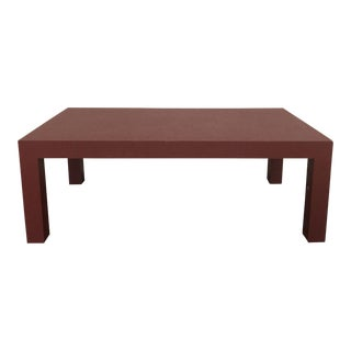 Red Lacquer Painted Parson's Style Coffee Table