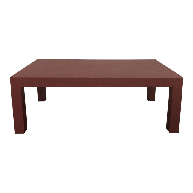 Red Lacquer Painted Parson's Style Coffee Table - Image 1 of 5