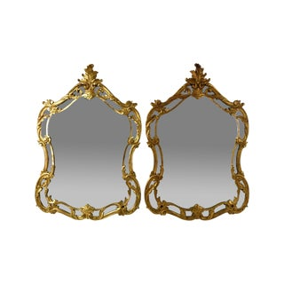 1960s Vintage Paoletti Brothers Italian Carved Giltwood Wall Mirrors - A Pair For Sale