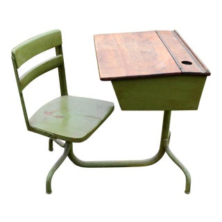 Vintage Industrial Children's School Desk with Chair For Sale