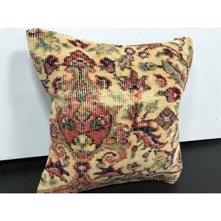 Vintage Turkish Floral Design Handmade Rug Pillow Preview