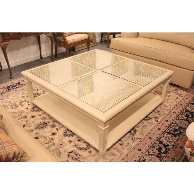 20th Century Hollywood Regency Square Cane Top Coffee Table For Sale - Image 4 of 9