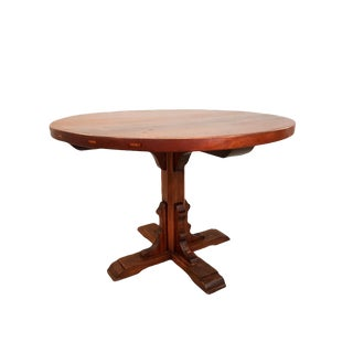 Antique Alpine French-Swiss Round Single Pedestal Oak Dining Table 1900s For Sale