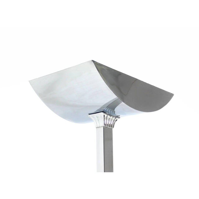 Hollywood Regency Mid-Century Modern Polished Chrome Floor Lamp For Sale - Image 3 of 8