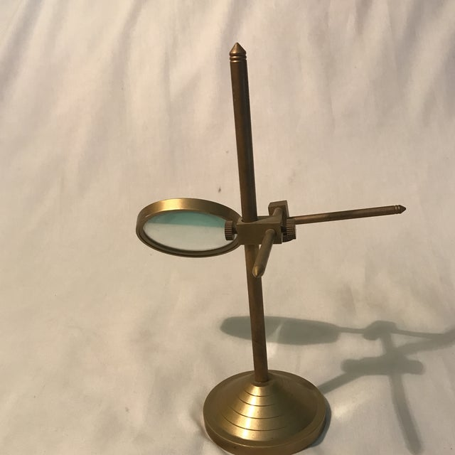 Brass Vintage Magnifying Glass With Adjustable Brass Stand For Sale - Image 7 of 11