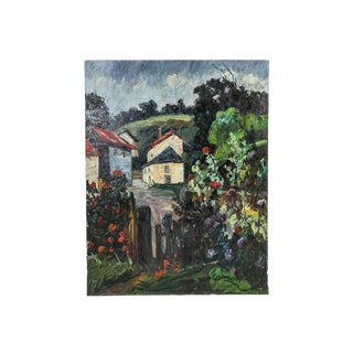 "Expressionist Oil on Canvas Painting, ""House and Landscape"" by Nandor Vagh-Weinmann For Sale"