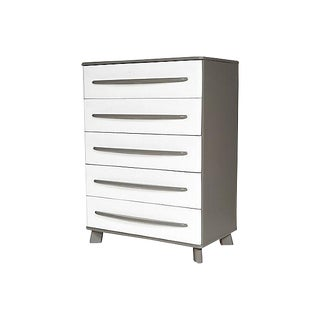 Lacquered Grey & White Painted Tall Dresser For Sale