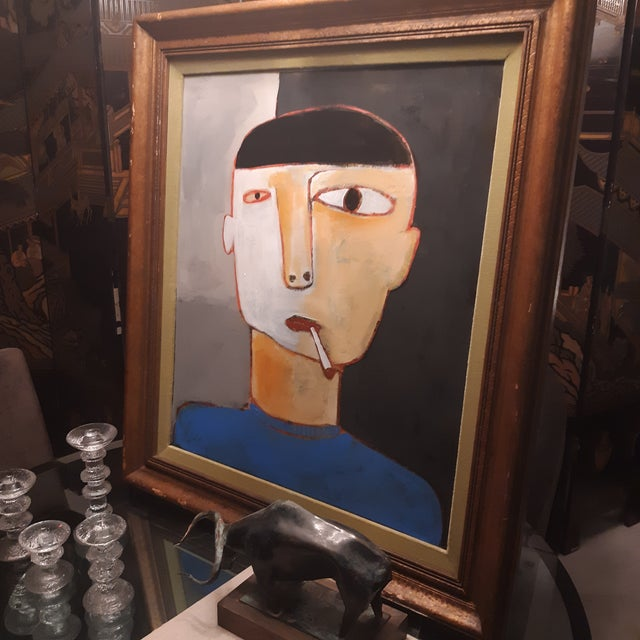 Man Smoking Figurative Portrait Painting For Sale - Image 4 of 5