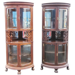 Companion Pair Rare Oak Carved Corner Cabinets For Sale