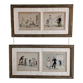 19th C. French Hand-Colored Engravings 'Le Bon Genre' - a Pair For Sale