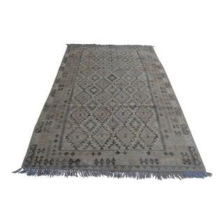 Handwoven Neutral Kilim Rug For Sale