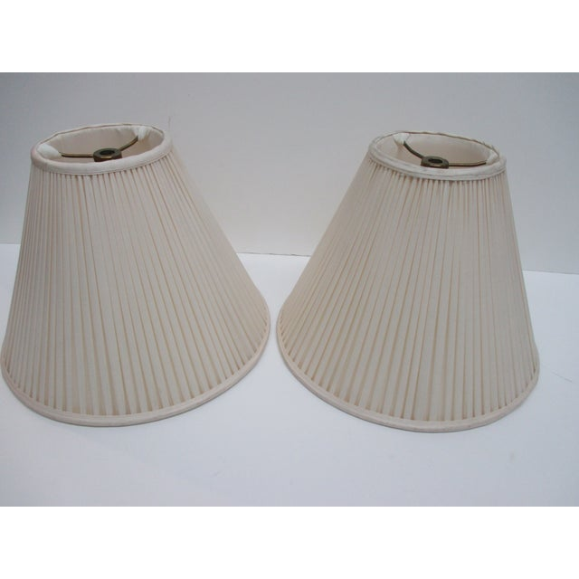 Metal Vintage Pair of Ecru Back Pleaded Silk Lampshades With Brass Fittings For Sale - Image 7 of 7