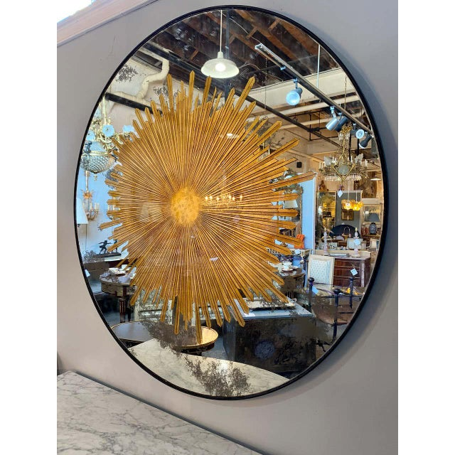 Monumental Gilt Gold & Silver Glass Sunburst Mirrors or Table Top Pair For Sale - Image 4 of 13