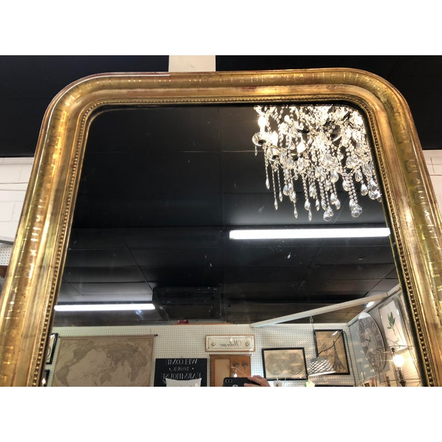 Gold 19th Century Antique French Louis Philippe Gold Leaf Mirror For Sale - Image 8 of 11