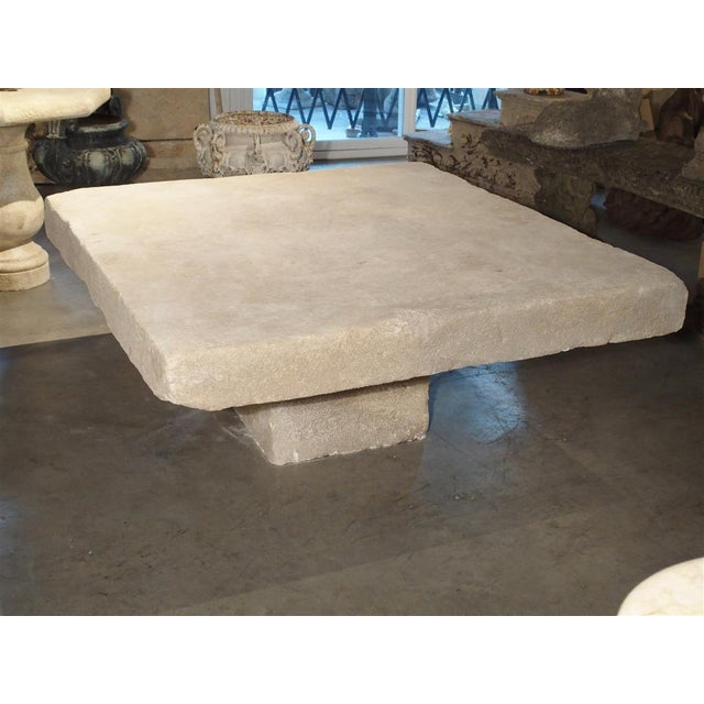 Early 21st Century Large Limestone Coffee Table From Provence, France For Sale - Image 5 of 12