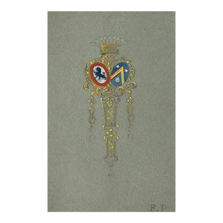 Van Cleff and Arpels Jewlery Design Gouache Painting For Sale