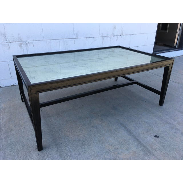 Wood Antique Mirror Top Coffee Table With Ebonized Black Walnut Frame For Sale - Image 7 of 13