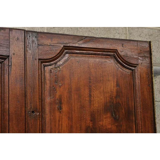 Brown Antique French Louis XVI Style Carved Oak Interior Double Doors - Set of 2 For Sale - Image 8 of 13