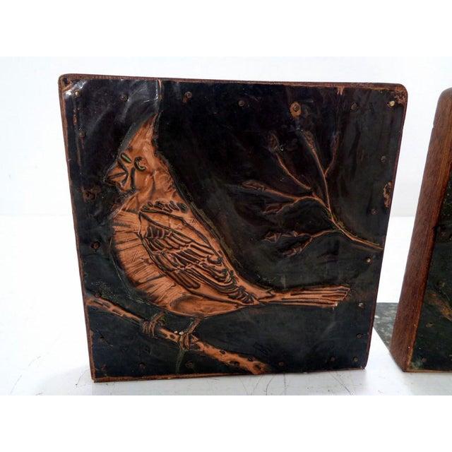 Antique Vintage Arts & Crafts Copper Cardinals Birds Folk Art Bookends For Sale - Image 4 of 12