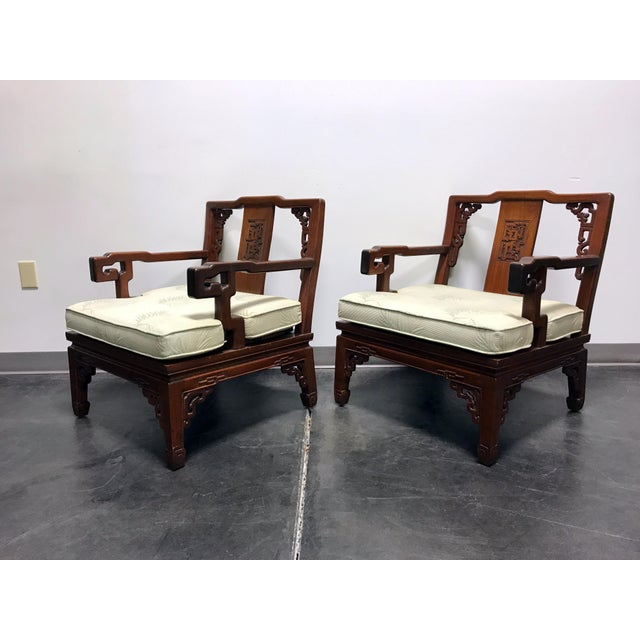 Asian Korean Carved Mahogany Lounge Chairs - Pair For Sale - Image 4 of 11
