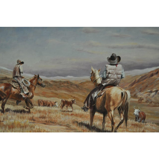 Fine art Western painting by listed artist Burt Dinius. Circa 1982, signed lower left. This oil on board painting shows...