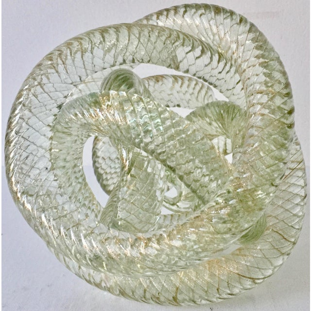 """Gold Large Murano Glass 8""""Twisted Knot Sculpture For Sale - Image 8 of 13"""