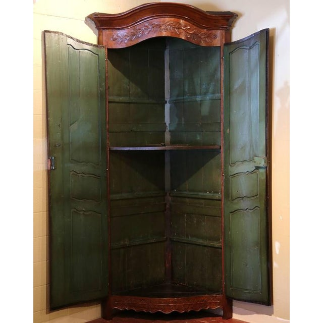 18th C. French Carved Walnut Bow Corner Cabinet For Sale In Dallas - Image 6 of 8