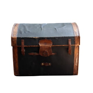 Antique Traveling Leather Trunk For Sale