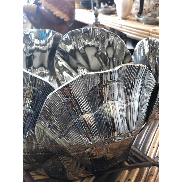 Nickel-Plated Bronze Clamshell Cachepot or Wine Cooler Ice Bucket For Sale In West Palm - Image 6 of 10