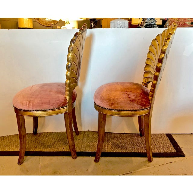 1960s Pair Gold Leafed Shell-Form Side Chairs For Sale - Image 5 of 8