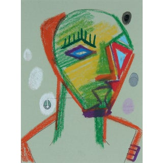 1972 Abstracted Portrait Drawing For Sale