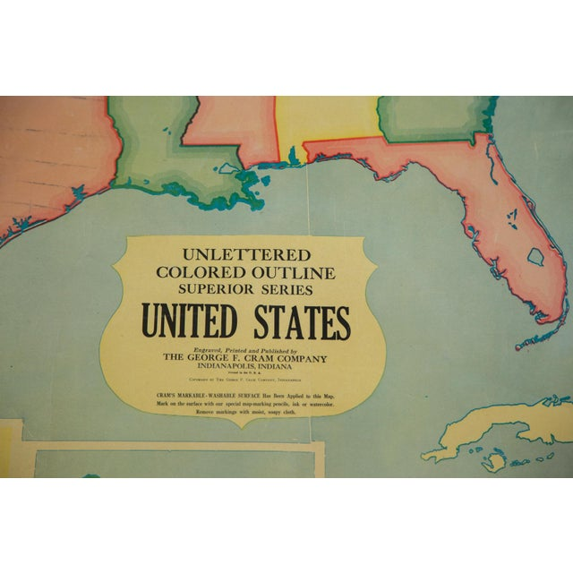 Early American Vintage 1930s Crams Pull Down Map For Sale - Image 3 of 9