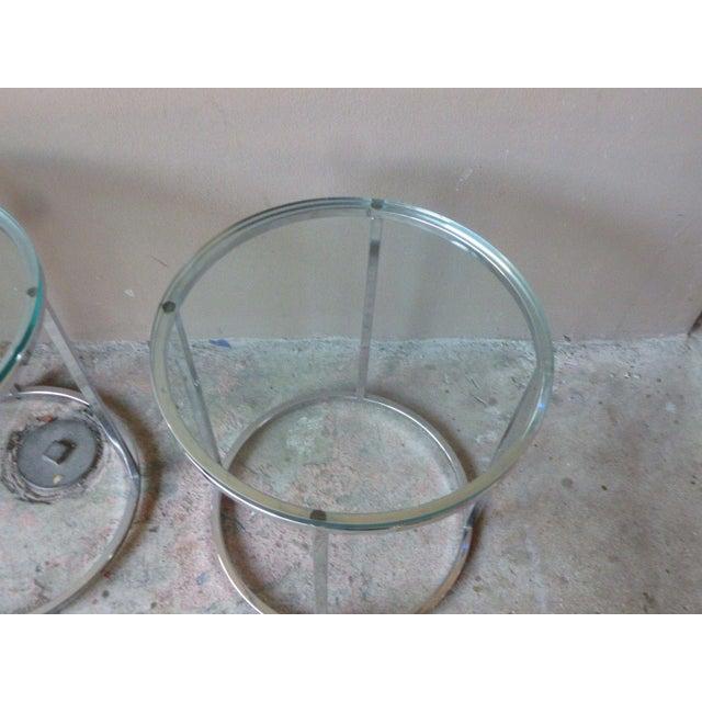 Transparent 1970s Vintage Milo Baughman Chrome Tables - A Pair For Sale - Image 8 of 11