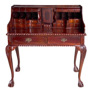Vintage Hand Carved Writing Desk For Sale