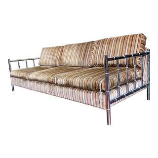 Mid Century Faux Bamboo Chrome Frame Sofa For Sale