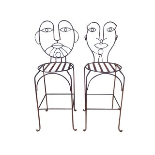John Risley Wrought Iron Bar Stools - A Pair