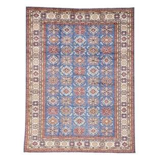"Persian Tribal Blue Kazak Wool Rug - 8'9"" X 12'1"""