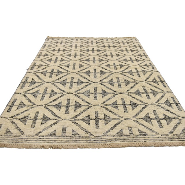 Abstract Contemporary Modern Style Rug with High and Low Pile For Sale - Image 3 of 6