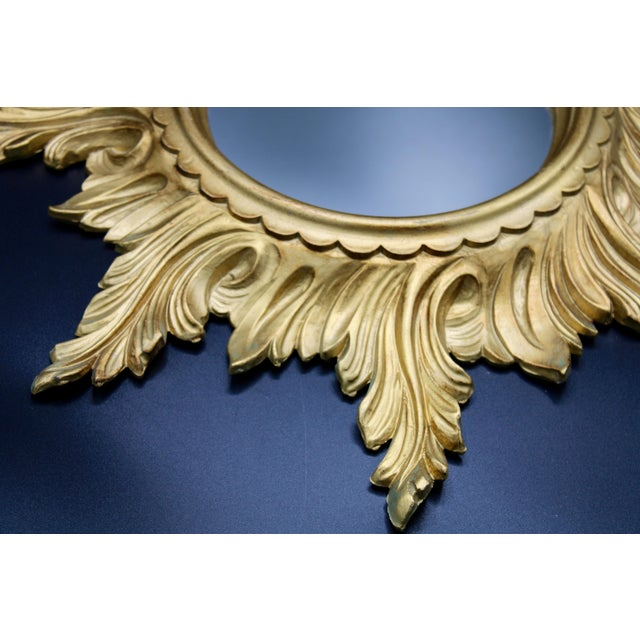 Glass 1960s Italian Gold Feather Rays Sunburst Mirror For Sale - Image 7 of 10