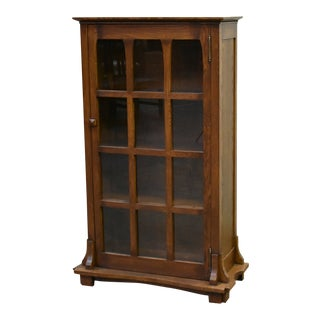 Crafters and Weavers Mission Solid Oak Display Bookcase For Sale