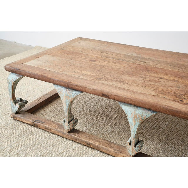 Monumental Weathered Pine Coffee Cocktail Table For Sale - Image 4 of 13