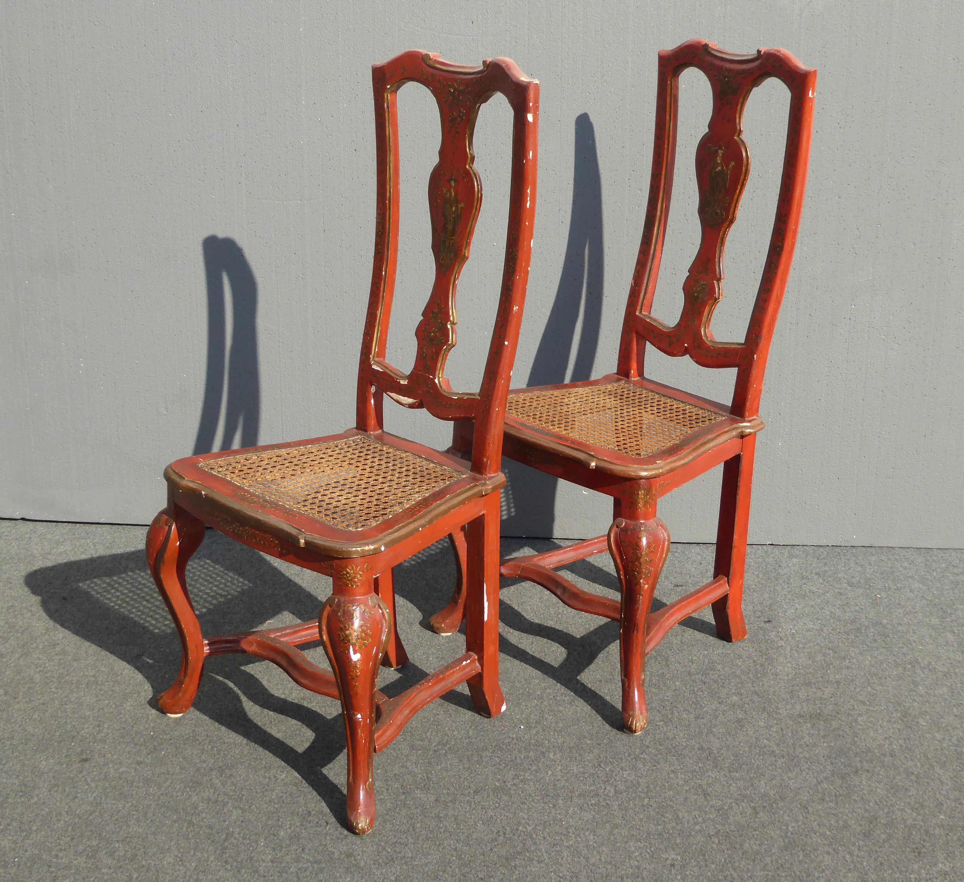 Vintage French Chinoiserie Hand Painted Red Accent Chairs  A Pair   Image 4  Of 11