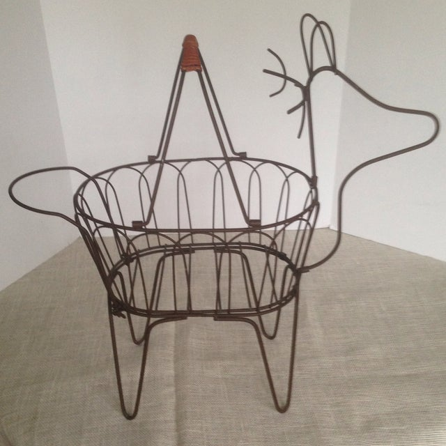 Large Vintage Metal Deer Planter/Basket For Sale - Image 9 of 11