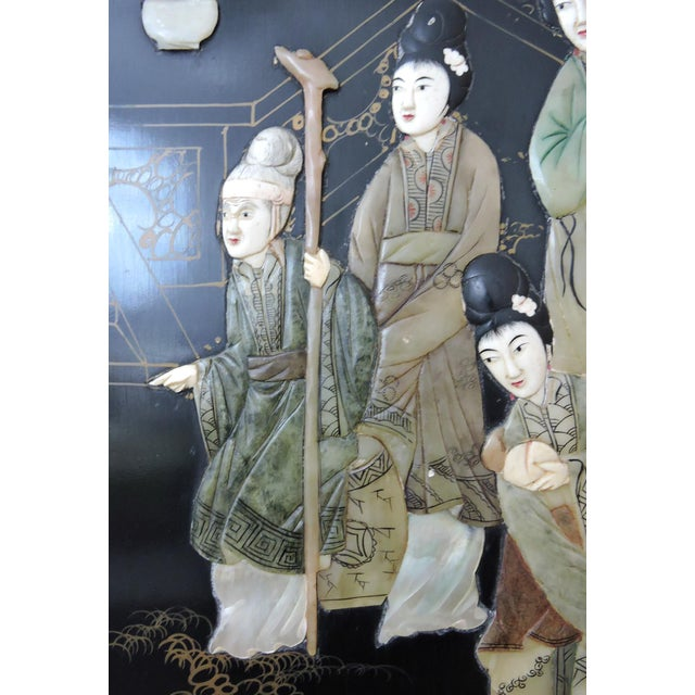 Antique Chinese Black Lacquer & Jade Screen / Room Divider, Garden Pavilion & Noble Ladies For Sale In Tampa - Image 6 of 11